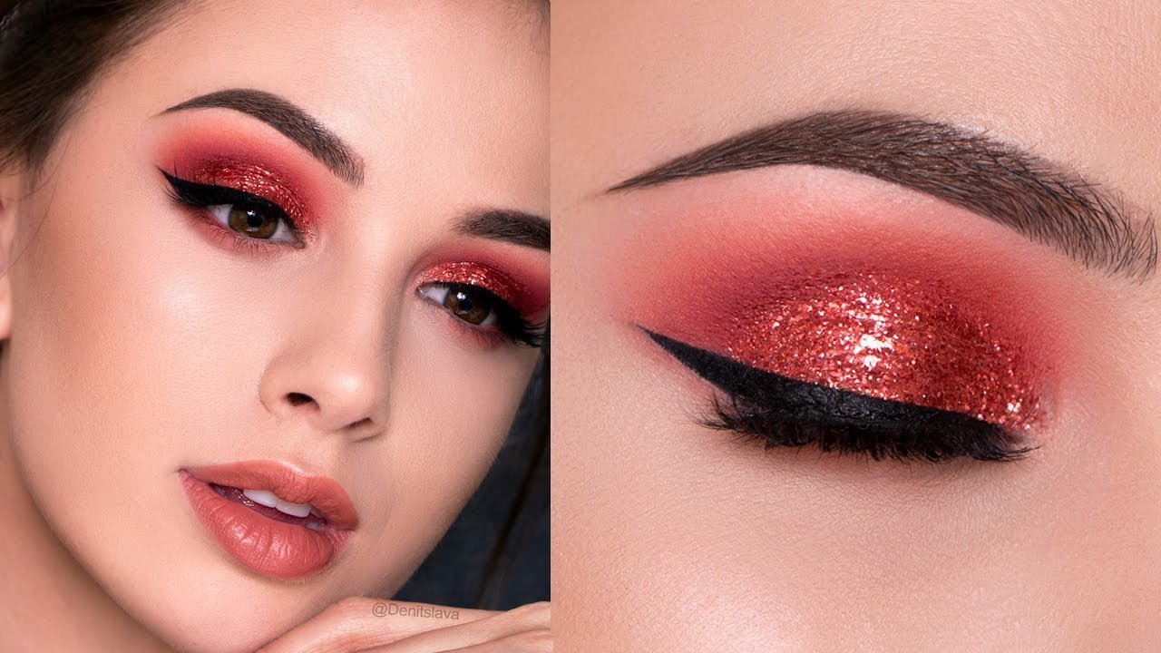 Red Glitter Smokey Eye Holiday Makeup Tutorial Youtube
