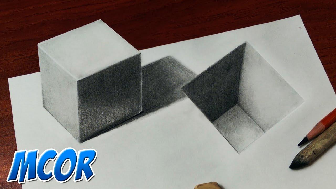 Dibujos En 3d Para Niños Web Del: Como Dibujar Un Cubo Y Un Hueco En 3D