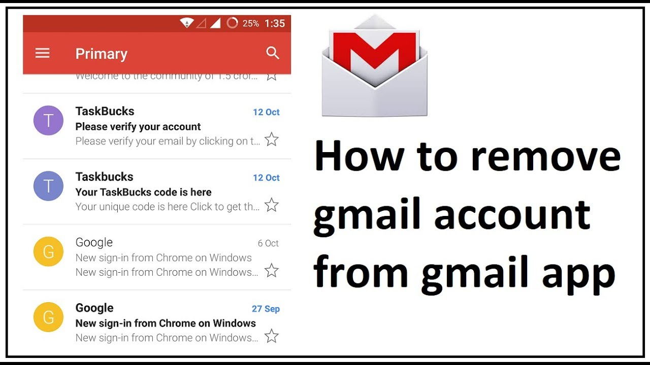 android gmail remove imap account