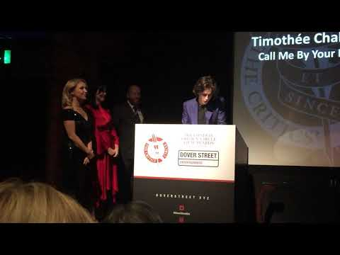 Timothée Chalamet winning Best Actor at the London Critics Circle awards