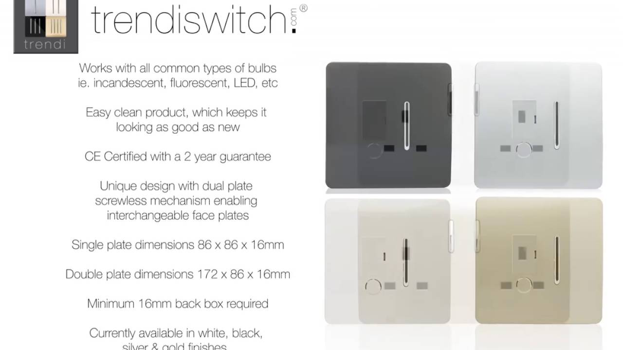 trendi switch modern designer light switch socket collection new voiced specifications youtube. Black Bedroom Furniture Sets. Home Design Ideas