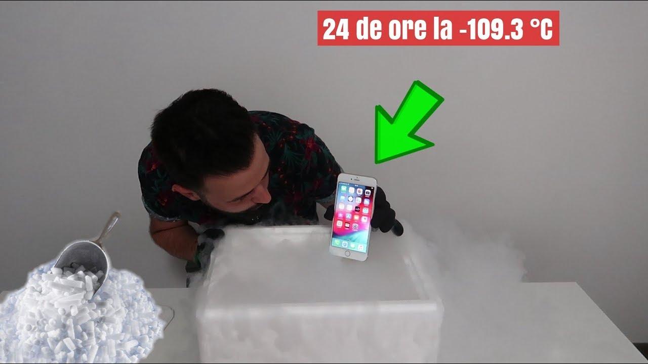 AM BĂGAT UN IPHONE IN GHEAȚĂ CARBONICĂ 24 DE ORE! (ce s-a intamplat cu el dupa...)