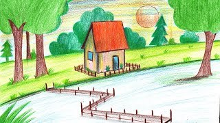 How to Draw a Summer Season Scenery - Step by Step