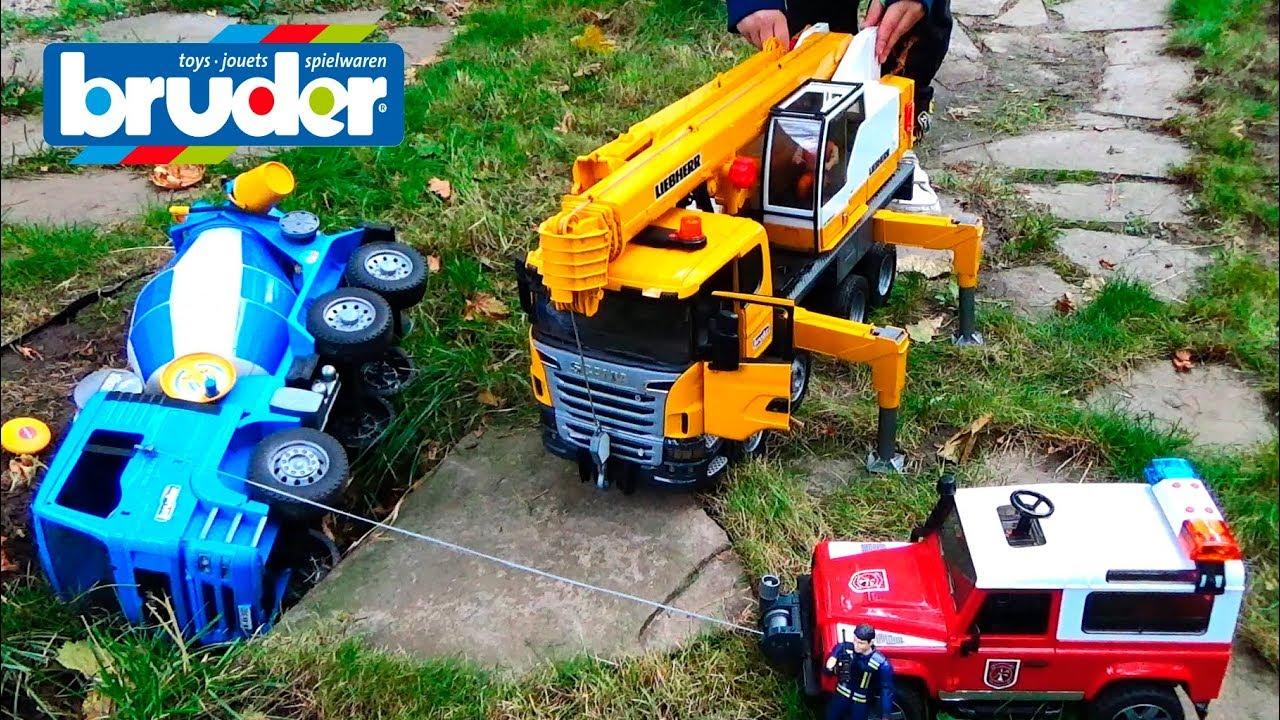 cars video for kids construction trucks for children crash bruder