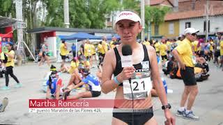 Dos atletas colombianos en el podio de la Maratón de las Flores
