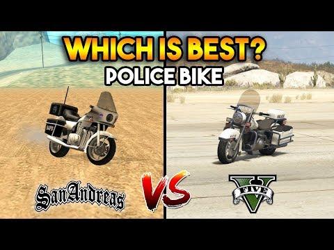 GTA 5 POLICE BIKE VS GTA SAN ANDREAS COP BIKE : WHICH IS BEST?