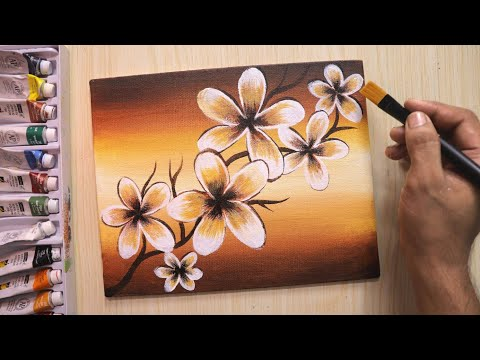 Acrylic painting for beginners of beautiful and simple flowers