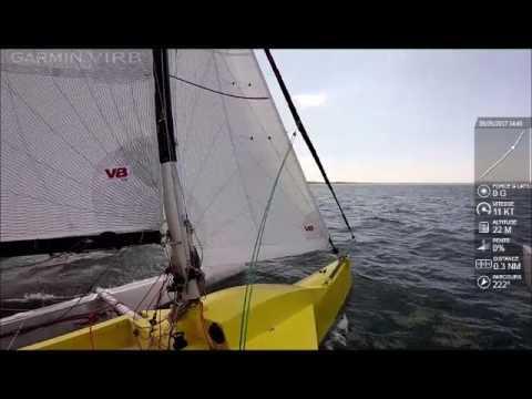 Strike 20 trimaran sailing at 12 knots to windward