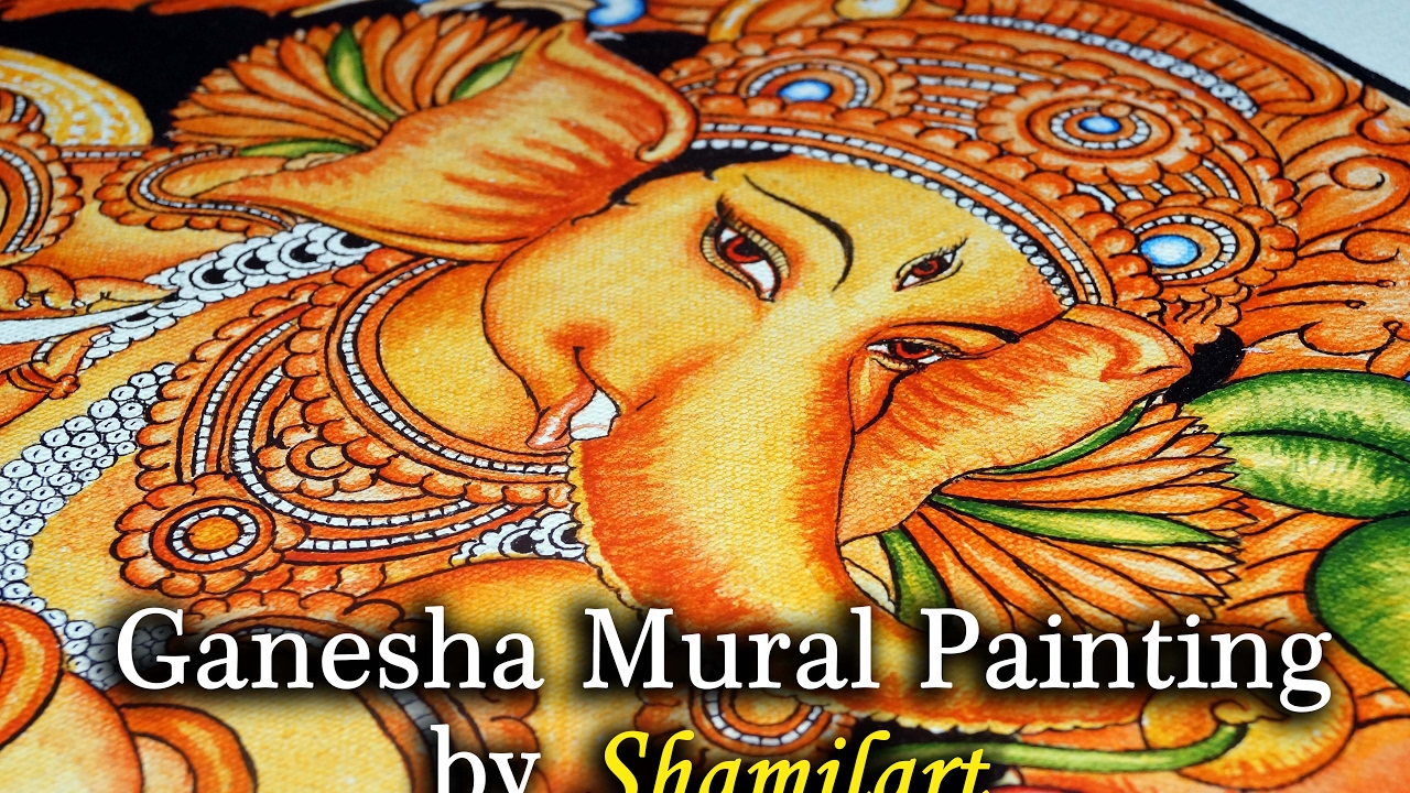 Ganesha mural painting by shamilart youtube for Mural art of ganesha