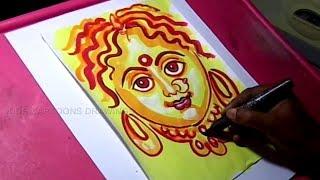 How to Draw Goddess Durga Mata Drawing for Kids