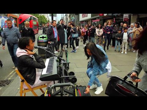 Amazing voice of 13-year-old Harmonie London on Oxford Street