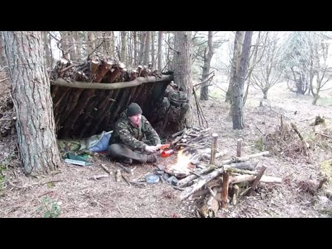 Bushcraft Camping Wild Camping In The Woods Uk Campfire Cooking Scottish Steak Sausage