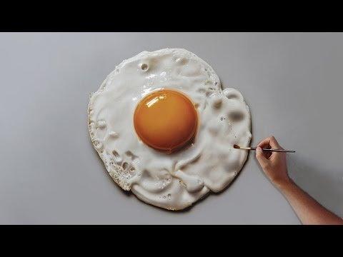 Fried Egg | Painting on canvas – How to Paint 3D Art