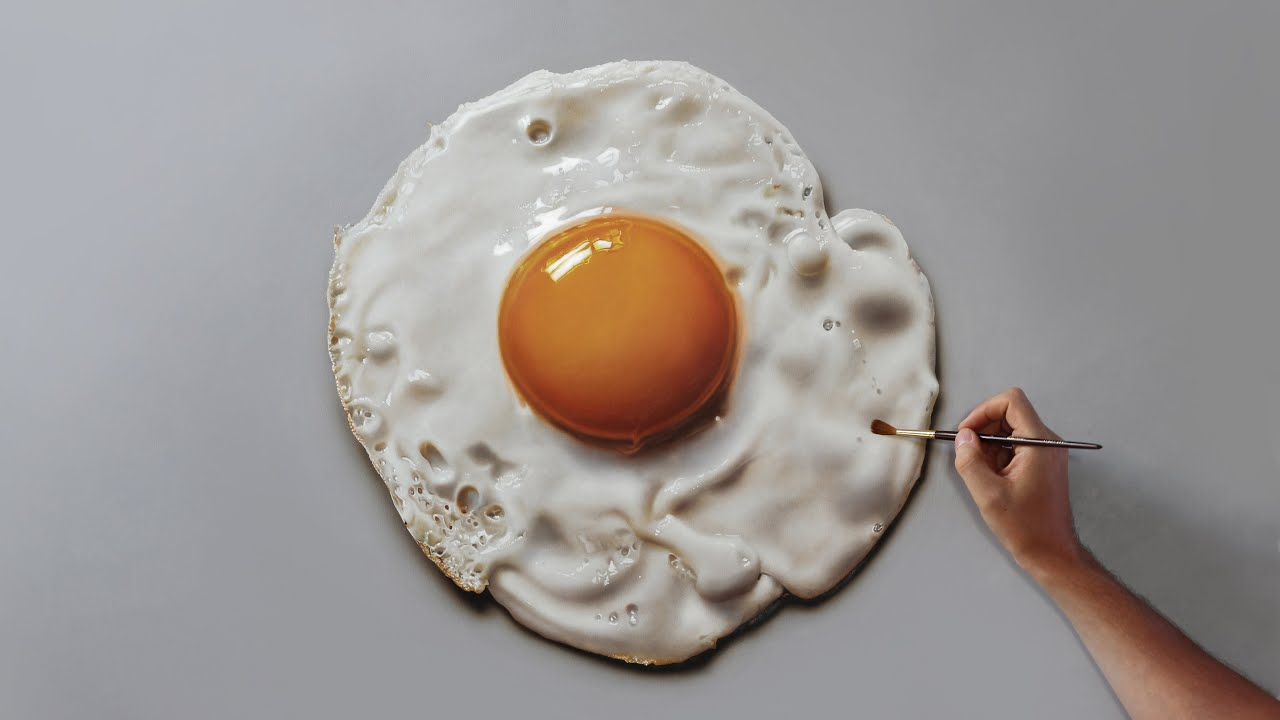 Fried Egg | Painting on canvas - How to Paint 3D Art