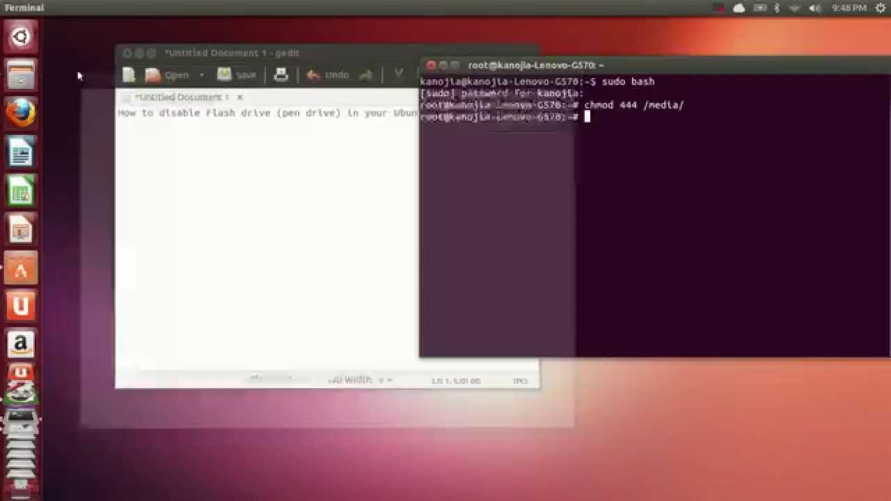 How to enable/disable pen drive on Ubuntu