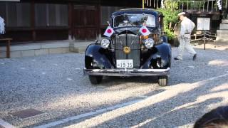 戦前らしい歴史感じる黒塗りで高級車特有の形、 菊の御紋もついた、昭和...