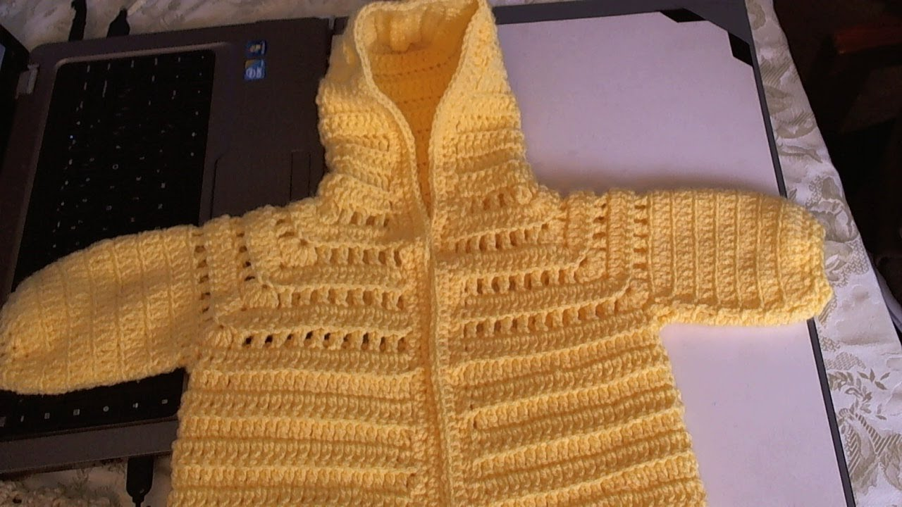 03538bc0a Easy to Crochet Baby Hoodie Sweater - Video 1 - Yolanda Soto Lopez