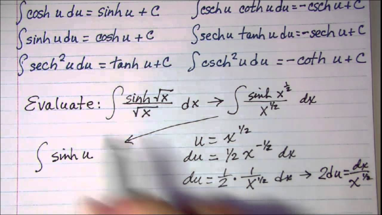 Integrals Of Hyperbolic Trig Functions 2 Youtube