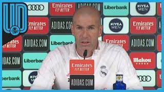 """Zinedine Zidane, técnico del Real Madrid, aseguró que es la temporada que más orgulloso se siente de sus jugadores y subrayó que pese a las continuas bajas y el coronavirus, están """"listos para las dos últimas jornadas"""", en las que buscarán hasta el final ser campeones de Liga."""