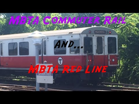 MBTA Red Line And Commuter Rail Trains In Braintree, MA