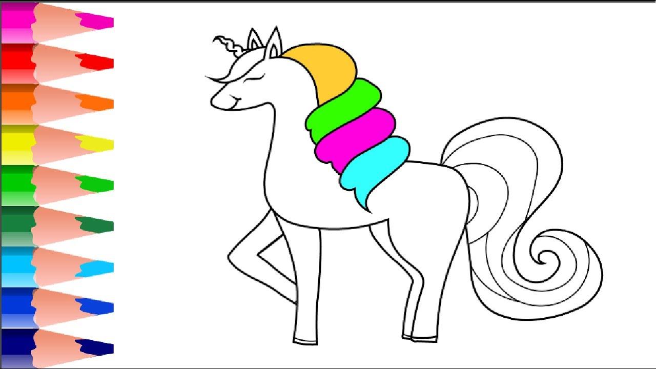 Unicorn Tek Boynuzlu At Nasil Cizilir Rengarenk Unicorn Cizim
