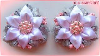 Цветы канзаши из ленты/ Kanzashi Flower tutorial/ Flores de fitas/ Ola ameS DIY