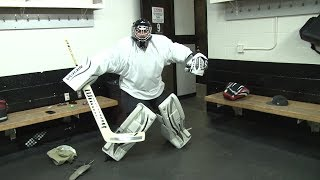 Beer Mug Tries Out To Be A Kings Goalie