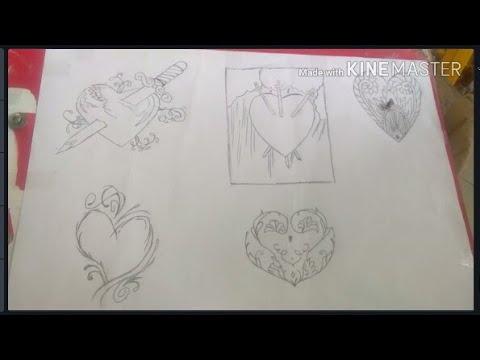 Tập vẽ hình xăm trái tim | Vẽ hình xăm trái tim tattoo