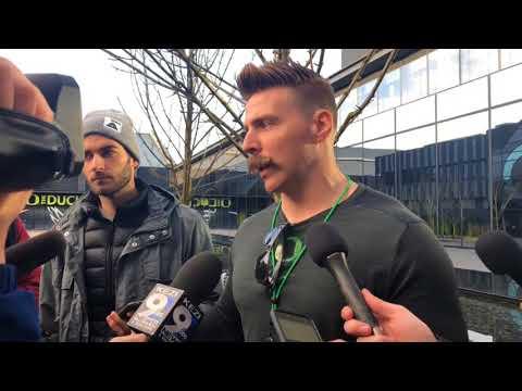 Aaron Feld talks at Oregon Ducks spring practice.