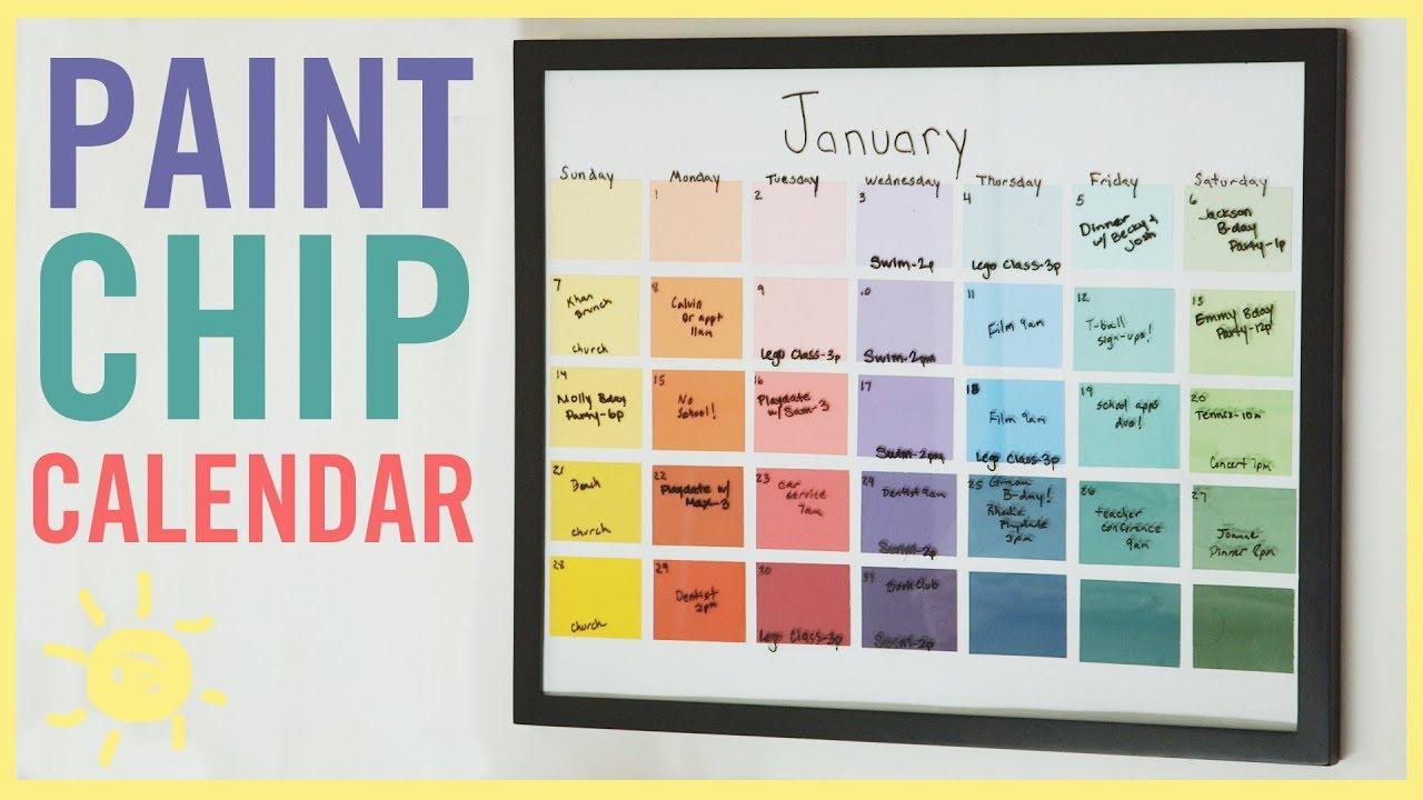 Diy Calendar With Paint Samples Easy