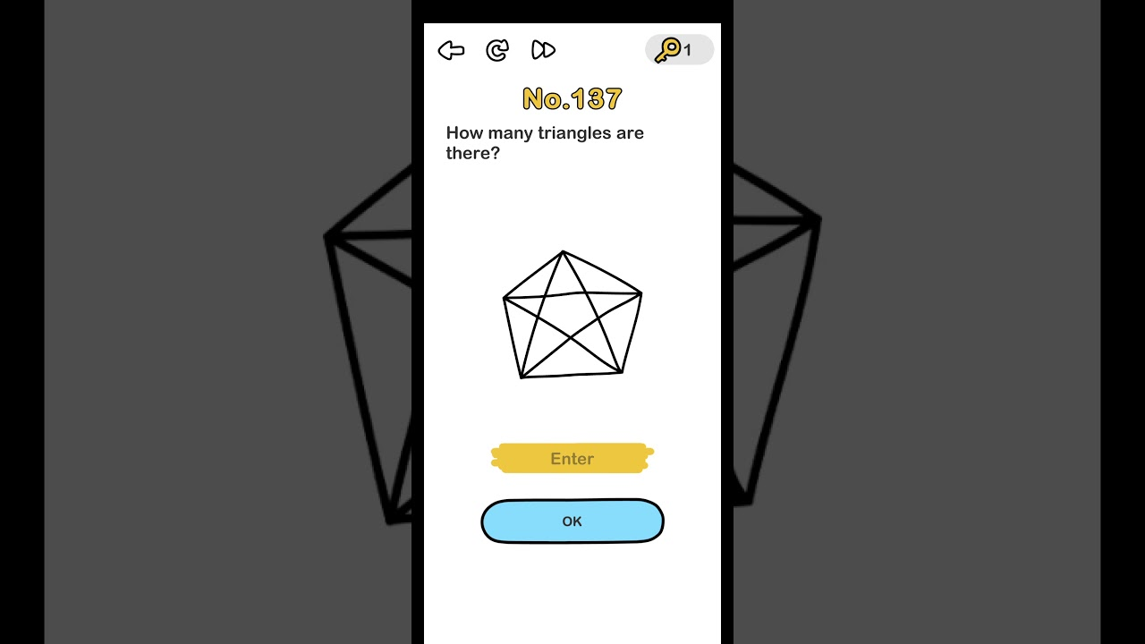 Brain Out Level 137 How Many Triangles Are There Walkthrough Solution Youtube
