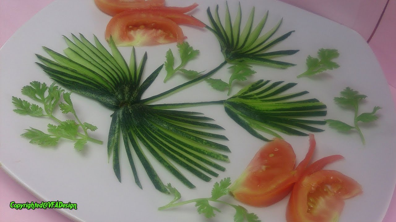 Gorgeous Cucumber Art Tomato Butterfly Cutting Garnish Design Vegetable Art Cutting Decoration