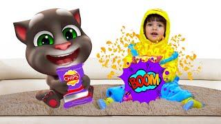 Мой Говорящий Том 2 в РЕАЛЬНОЙ ЖИЗНИ | Арина и Котик Том играют в игру чипсы вредная еда