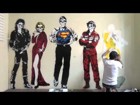 Stencil Graffiti Art - Michael Jackson, Marilyn Monroe, Amy Wine House.