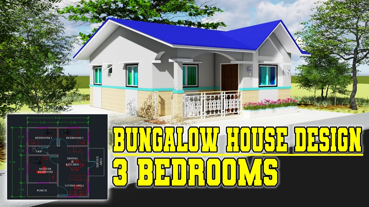 Simple House Design With 3 Bedrooms Bungalow Type 48 5 Sq M Floor Area Youtube