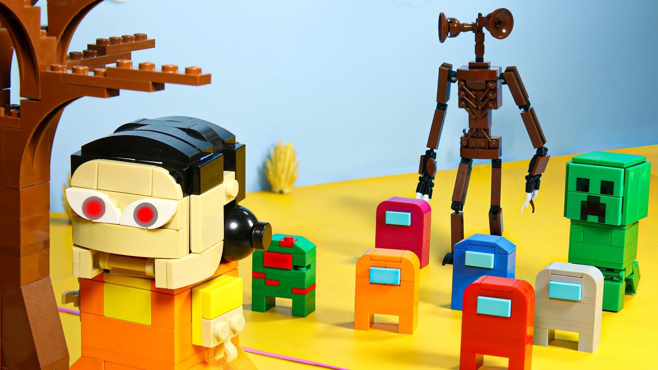 SQUID GAME vs. LEGO Among Us, Siren Head and Minecraft | Stop Motion Animation