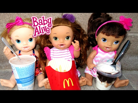 BABY ALIVE Eats McDonalds & Wendy's And Gets SICK!
