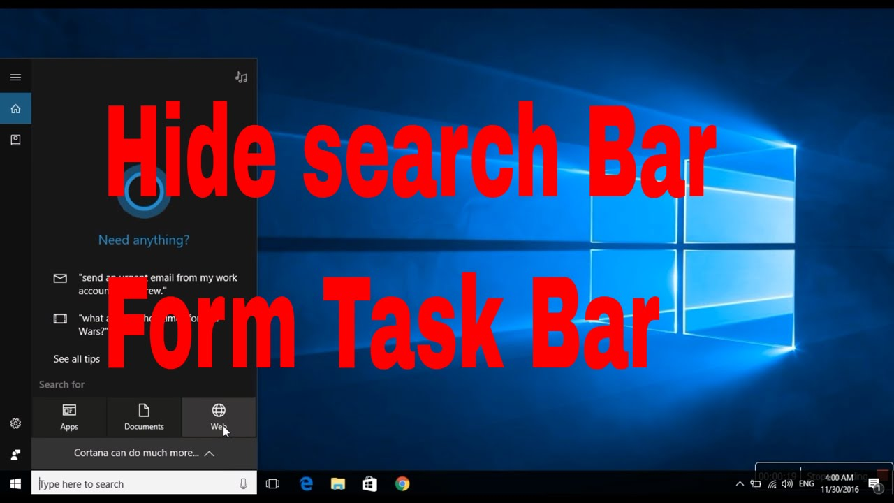 How to hide Search bar from task bar windows 10#
