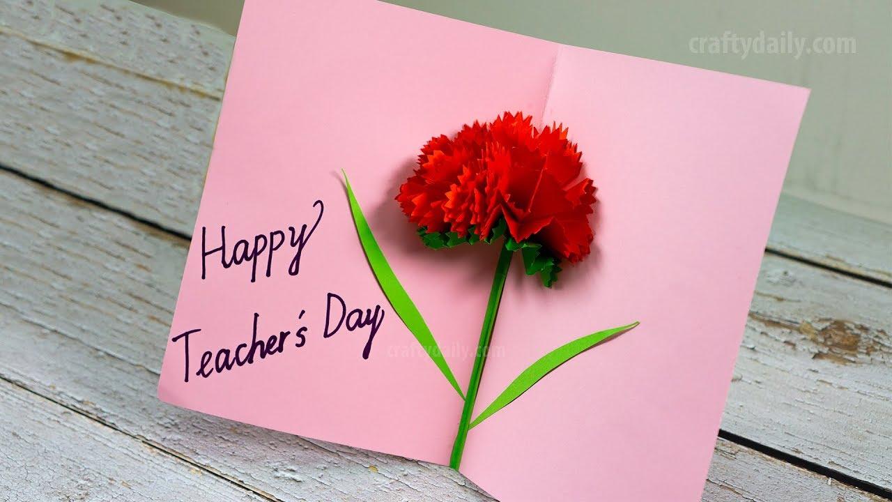 Diy Teacher S Day Card Tutorial Carnation Flower Pop Up Card Craft For Kids Youtube Flower Cards Teachers Diy Teachers Day Card