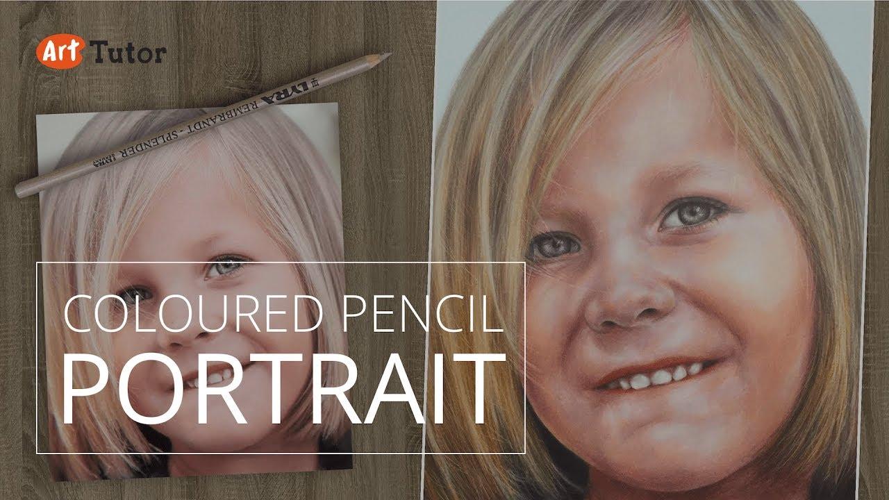 coloured pencil tutorial photo realistic portrait youtube