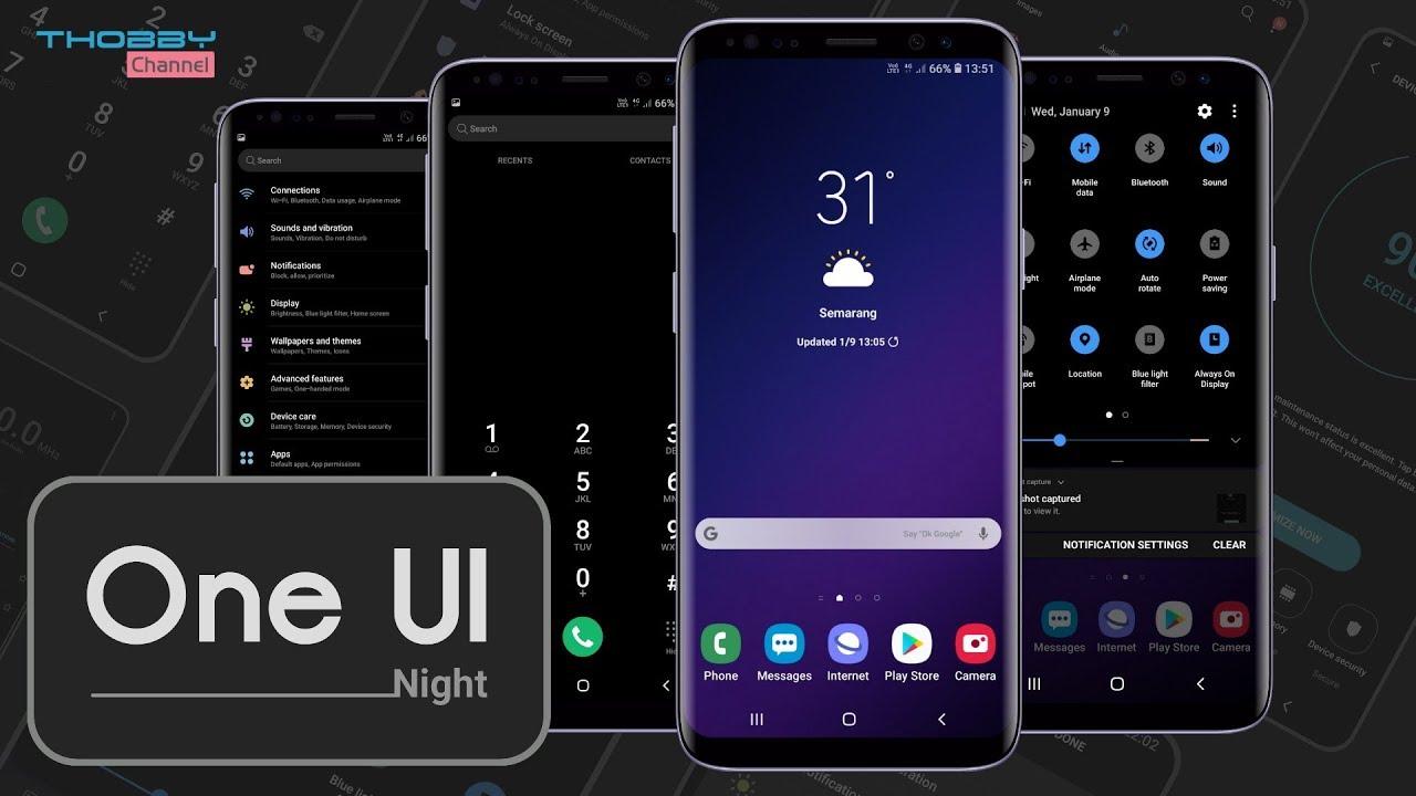 Samsung OneUI Night | Black Version Theme For Oreo & Nougat