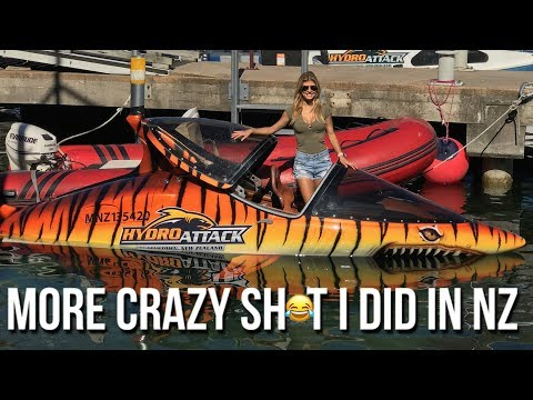 More crazy sh*t I did in New Zealand!  Hydro Attack Shark Boat!