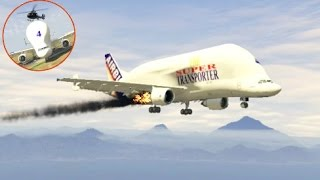 GTA 5- Burning Airplane- Amazing Emergency Landing at Airport (Funny Moments)