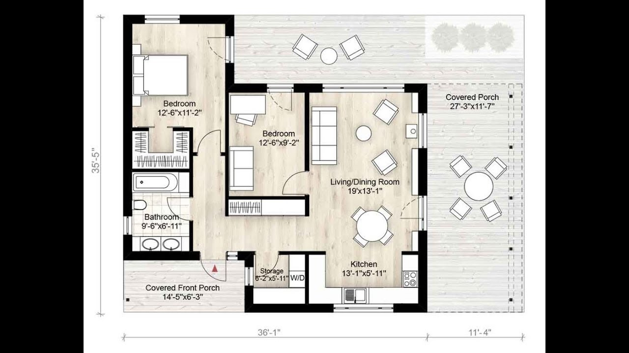 Modern House Plans 2 Bedrooms 1 Bath 850 Sq Ft