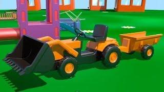 Мультфильмы про машинки - Экскаватор-погрузчик на детской площадке thumbnail