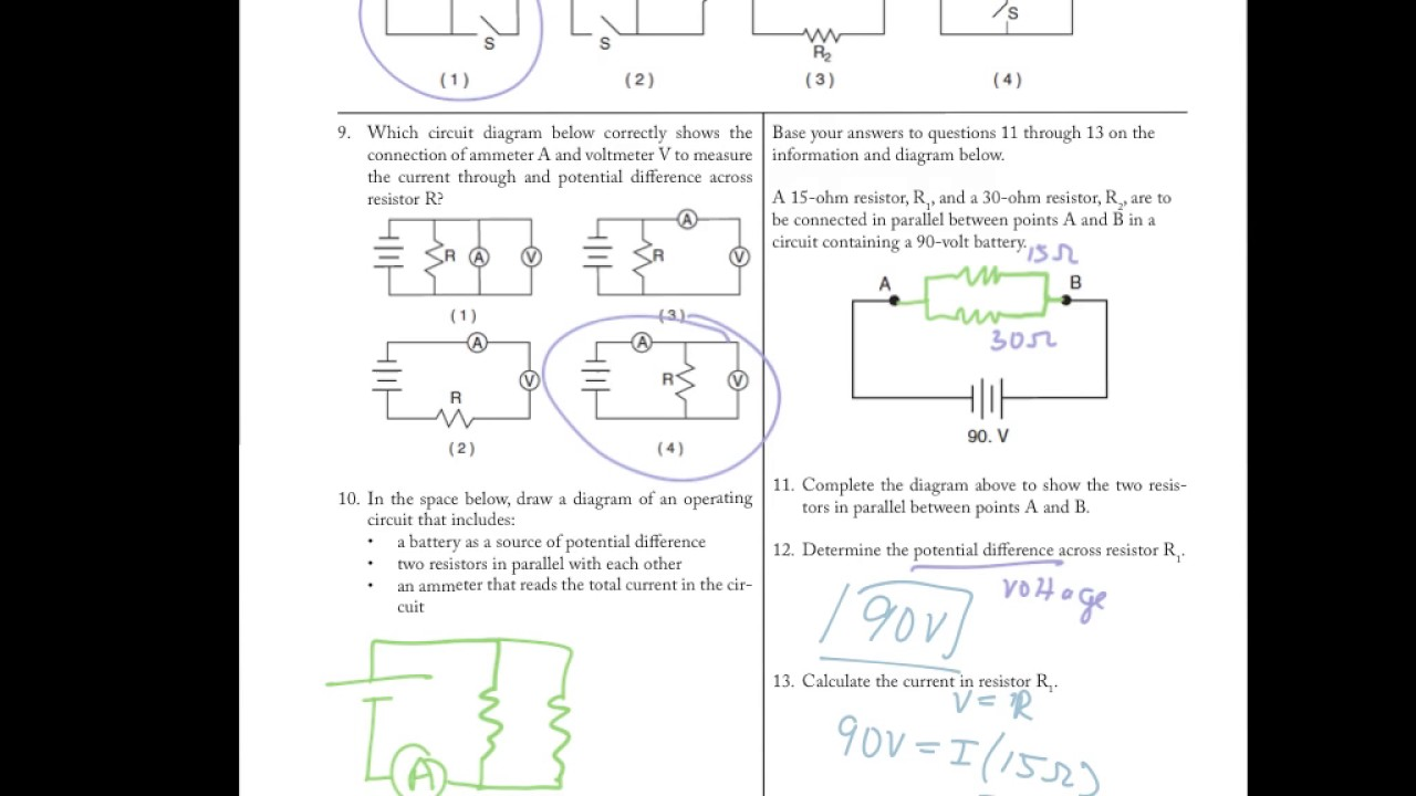 Circuits Review Worksheets Youtube Figure A The Ammeter Measures Total Current Through Circuit