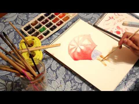 Рисуем акварелью девушку под зонтом /  Drawing watercolor girl under an umbrella