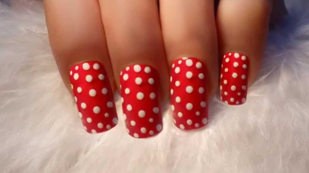 ♥ Red Polka Dot ♥ Nail Art ♥ - YouTube