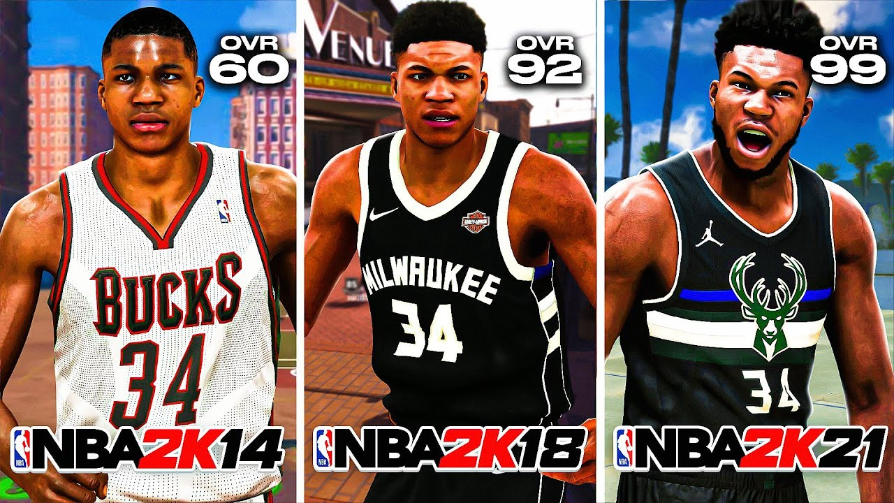 GETTING A CONTACT DUNK with GIANNIS ANTETOKOUNMPO on EVERY NBA 2K (NBA 2K14 - NBA 2K21)
