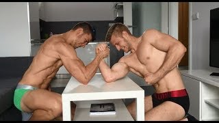 Arm wrestling with ripped stud